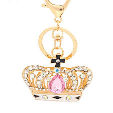 custom jewelry keyring whole rhinestone crown keychain