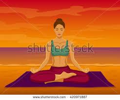 original yoga painting omwoman yoga meditate. Woman Doing Yoga Meditation On The Beach During Sunset Vector Illustration. Meditating In Lotus Original Painting Omwoman Meditate