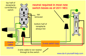 wiring diagrams for switch to control a wall receptacle do it wiring a switched outlet wiring diagram – power to receptacle at Wire Light Switch From Outlet Diagram