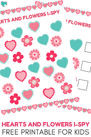 Pictures Of Hearts And Flowers Super Fun Hearts And Flowers I Spy Free Printable For Kids