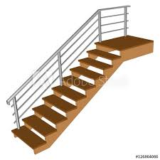 stair with wooden steps ladder sample 3d with chrome railing side view isolated vector ilration on a white background