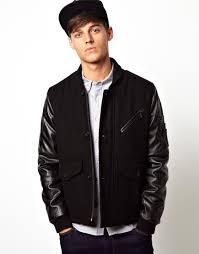 hot korean men leather sleeve jacket slim fit cool jackets for men black army green
