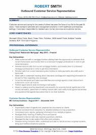 Outbound Customer Service Representative Resume Samples Qwikresume