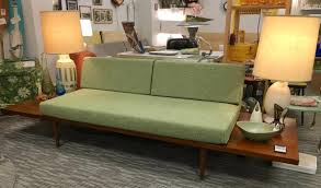 Mid century modern furniture Diy Custom Mid Century Modern Platform Sofa With Attached Side Tables Eurohaus Modern Furniture The Mesa Mid Century Platform Sofa With Side Tables Loft 63