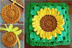 Crochet Sunflower Pattern Custom Sunflower Granny Square Free Crochet Pattern DIY Tag