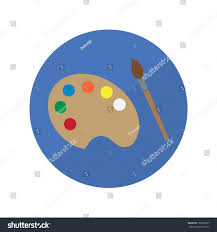 painting color palette and brush vector icon painting equipment