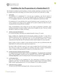 Cv Guidelines Guidelines For The Preparation Of A Standardized Cv
