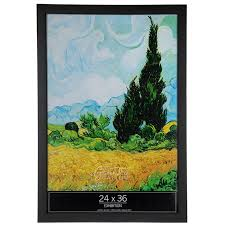 black matte smooth wood wall frame 24