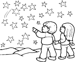 Small Picture Children with the stars Coloring Pages for Kids
