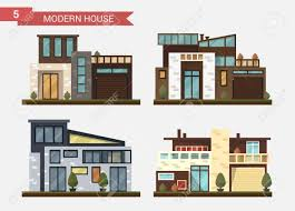 modern private home office. Vector Flat Illustration Traditional And Modern House. Family Home. Office Building. Private Pavement Home