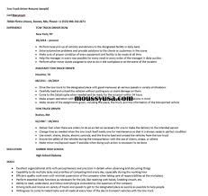 truck driving resumes tow truck driver resume sample resume builder