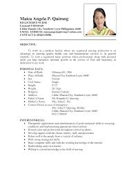 Nursing Biodata Model Resume Sample Nurse Nardellidesigncom