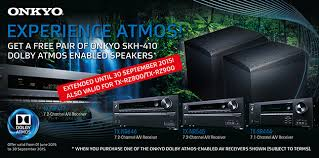 onkyo dolby atmos speakers. 30 september 2015 from a local dealer will get an dolby atmos-enabled skh-410 speaker system onkyo completely free of charge [subject to terms ] atmos speakers d
