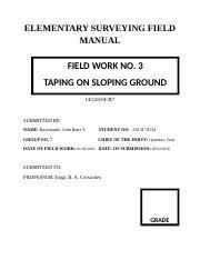 Surveying Taping Raymundo Fieldwork 3 Taping On Slope Ground Elementary