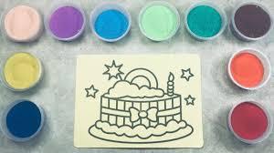 Tô Màu Tranh Cát Hình Bánh Kem Sinh Nhật | Coloring Cat Painting Birthday  Cake Shape - YouTube