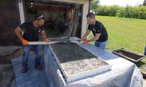 screeding concrete counters trowel the concrete to smooth it out how to make concrete countertops for an outdoor kitchen