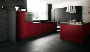 black and red kitchen designs. Sweet Modern Apartment Kitchen Designs With Chic Red Cabinets And Dark Flooring Installation Ideas Black S
