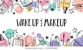 wake up and makeup cosmetics beauty elements black outlines and color circles on