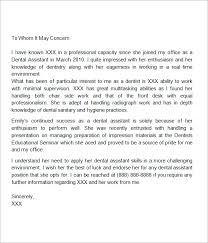 Letter Of Recommendation For A Dentist Free 8 Recommendation Letters In Doc