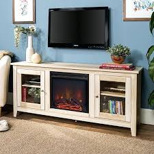 58 inch tv stand white wash wood sunbury with electric fireplace