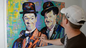 painting laurel and hardy