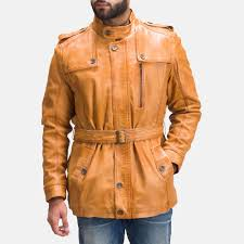 mens hunter tan brown fur leather jacket 6