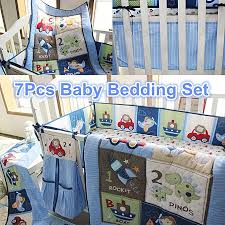 baby bedding set crib cot blue 7pc nursery nappy stacker quilt sheet boy abc 123