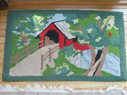 details about hand hooked rug w red covered bridge stream made in maine vintage colorful