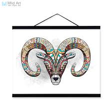 modern ancient african national totem animals goat head a4 framed canvas painting wall art prints picture