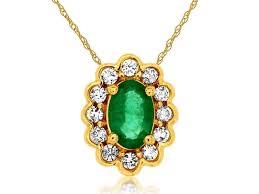 oval emerald diamond halo pendant