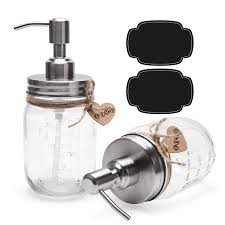 ulg 2 pack 16 oz glass soap dispenser with stainless steel pump pint size clear mason jars soap pump bottle lotion dispenser dish soap dispenser liquid soap