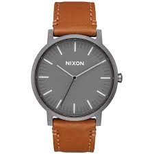 nixon porter leather a1058 100m water resistant men s watch 20 18mm leather band and 40mm watch face