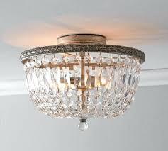 flush mount crystal chandelier empire collection 6 light chrome