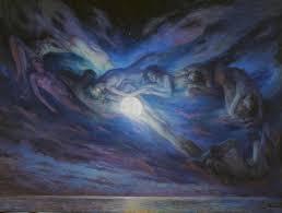 surrealism painting moonlit night source of life by serguei zlenko