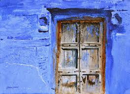 watercolor painting old door by ramesh jhawar