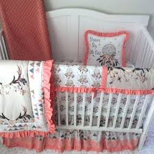 boho crib bedding baby girl crib bedding tan peach c blue skull triangles with lace made