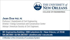 Business Card Order Form University Of New Orleans
