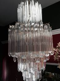 pair of stunning six tier acrylic chandeliers in excellent condition for in los angeles