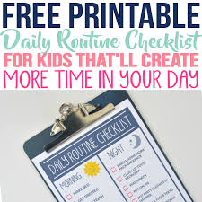 Daily Routine Printable Free Printable Daily Routine Checklist That Every Busy