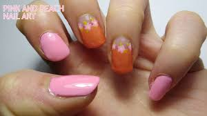 Pink and Peach Nail Art - YouTube