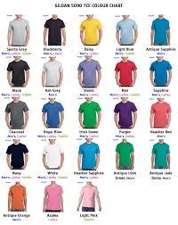 Gildan Color Chart 5000 Gildan Tee Shirt Color Chart Www Bedowntowndaytona Com