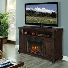discontinued hudson media electric fireplace in rustic brown finish