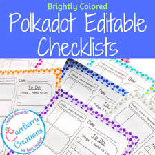 Daily Checklist Planner Editable Lesson Planner Daily Checklist With Polkadots By Carrberry