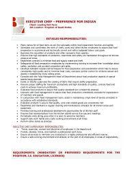 Chef Job Description Resume template Head Chef Job Description Template 19