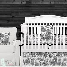 shabby chic black white toile gender neutral baby crib bedding