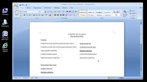 Microsoft Word 2007 Underline Text Or Spaces Youtube
