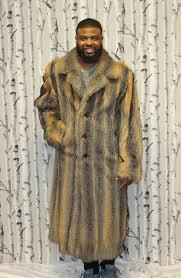 513275 new mens natural grey fox fur full length coat stroller jacket 2xl