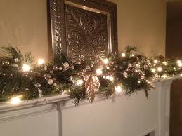 Mantle Garland Lights Christmas Garland White Silver Berries Silver Leaf