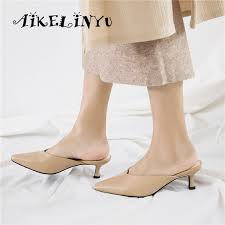 <b>AIKELINYU</b> 2019 Women Cow Leather Mules Stiletto Heel Pointed ...