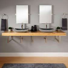 Bamboo Bathroom Sink 73 Bamboo Wall Mount Vessel Sink Vanity Rectangular Brackets